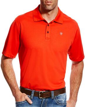 Ariat Men's AriatTEK Heat Series Orange Tek Polo, Orange, hi-res