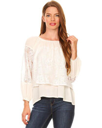 Young Essence Women's Long Sleeve Off the Shoulder Lace Top, , hi-res
