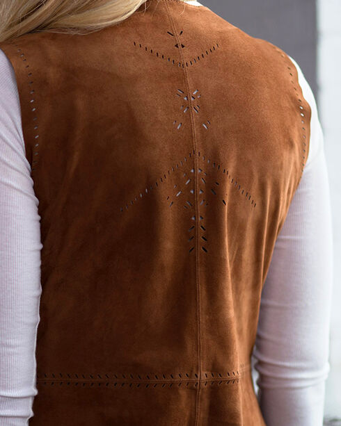 Ryan Michael Women's Long Leather Fringe Vest, Cognac, hi-res