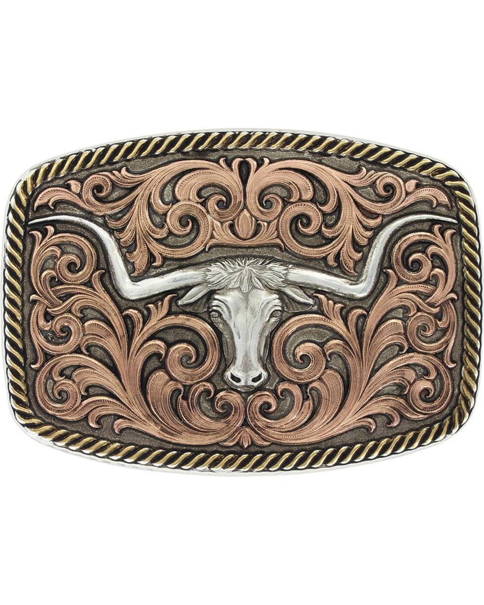 Montana Silversmiths Tri-Color Champion Texas Longhorn Buckle , Silver, hi-res