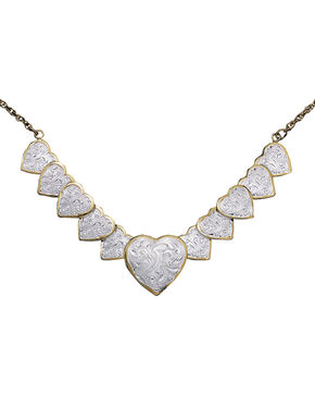Montana Silversmiths Silver and Gold Heart Necklace, Multi, hi-res