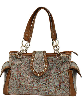 Blazin Roxx Floral Embossed Satchel Bag, Blue, hi-res