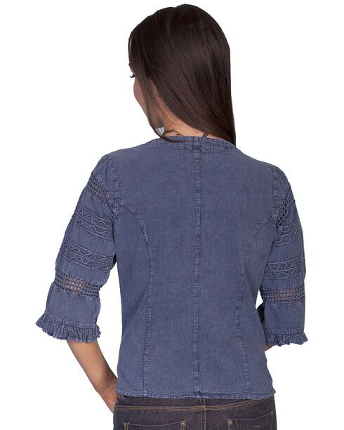 Scully 3/4 Length Sleeve Soutache Top, Dark Blue, hi-res