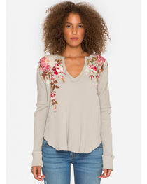 Johnny Was Women's Cream Chrys Long Sleeve Neck Thermal Top , , hi-res