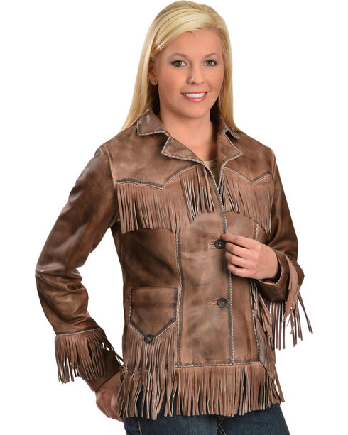 Scully Women's Fringe Lamb Jacket, Brown, hi-res