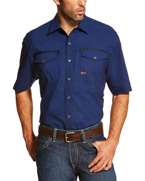 Ariat Men's Navy Rebar Short Sleeve Work Shirt - Tall, Navy, hi-res