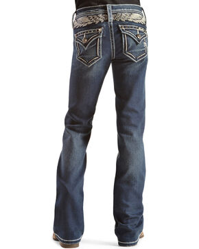 Miss Me Girl's Angel Wing Boot Cut Jeans, Denim, hi-res