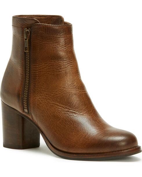Frye Women's Whiskey Addie Double Zip Boots - Round Toe , Dark Brown, hi-res