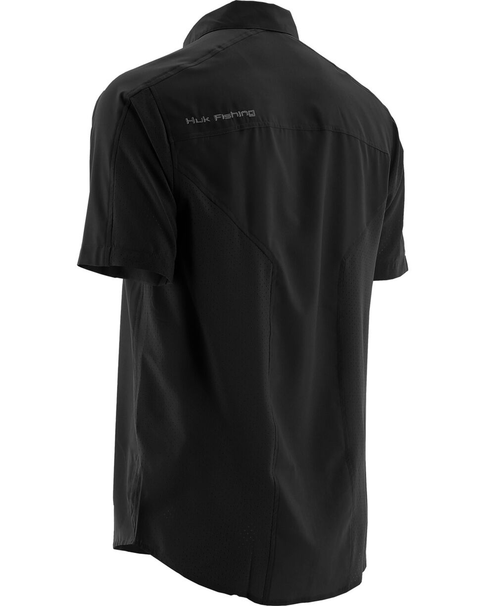 Huk Performance Fishing Men's Next Level Woven Short Sleeve Shirt , Black, hi-res