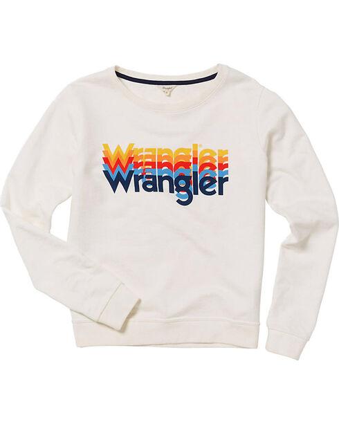 Wrangler Women's 70th Anniversary Screen Print Logo Sweatshirt, White, hi-res