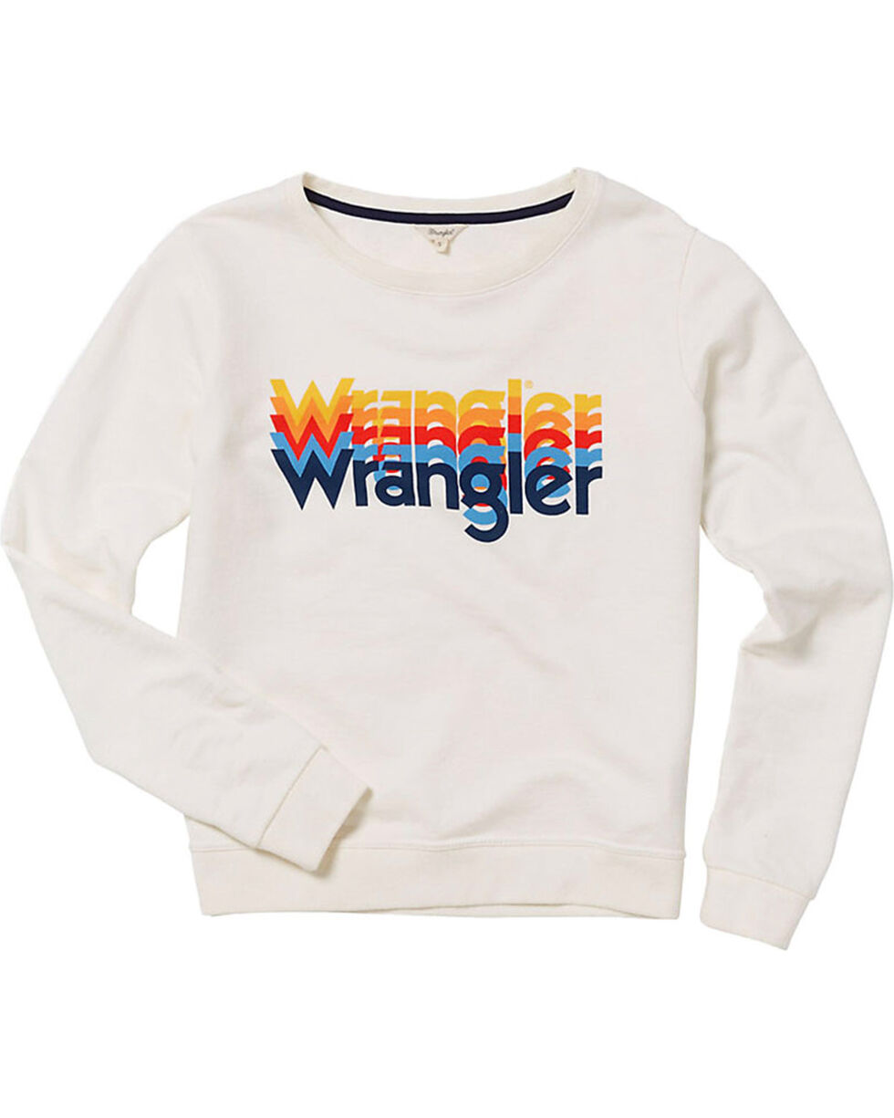 Wrangler Women's 70th Anniversary Screen Print Logo Sweatshirt, White, hi-res