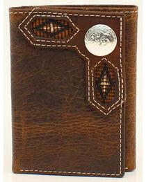 Nocona Ribbon Inlay Round Concho Tri-Fold Wallet, , hi-res