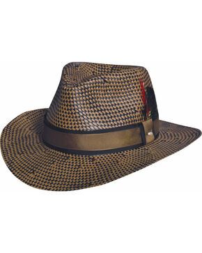 Black Creek Toyo Straw Two-Tone Patterned Hat, Multi, hi-res