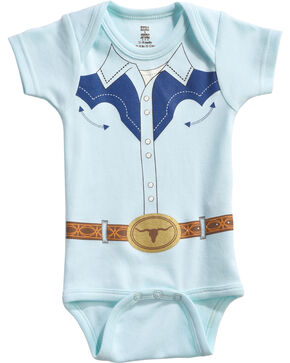"Hers 'N Spurs Infant's ""Cowboy Shirt"" Onesie, Blue, hi-res"