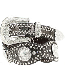 Nocona Studded Rhinestone Concho Scalloped Leather Belt, , hi-res