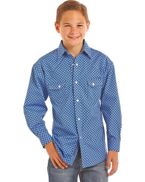 Panhandle Boys' Diamond Print Long Sleeve Snap Shirt, Royal Blue, hi-res