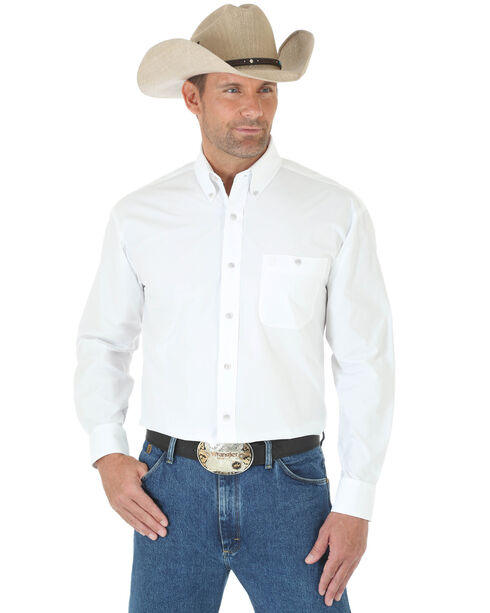 Wrangler George Strait Men's White Long Sleeve Shirt, White, hi-res