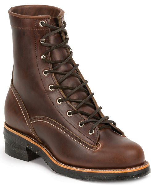 """Chippewa Men's 1935 8"""" Original Lace to Toe Logger Work Boots, Chocolate, hi-res"""