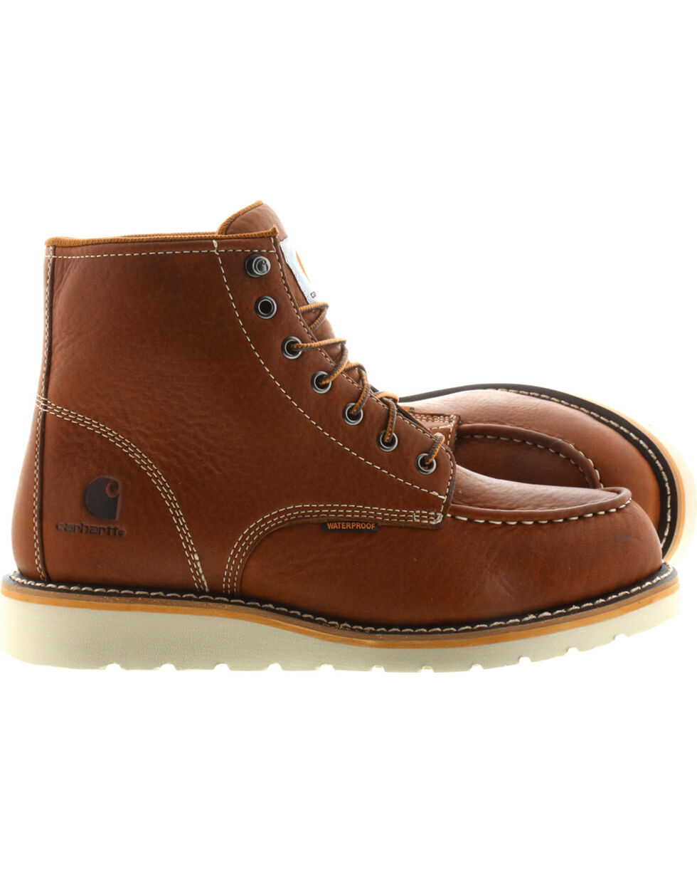 "Carhartt Men's 6"" Tan Waterproof Wedge Boots - Moc Toe, Tan, hi-res"