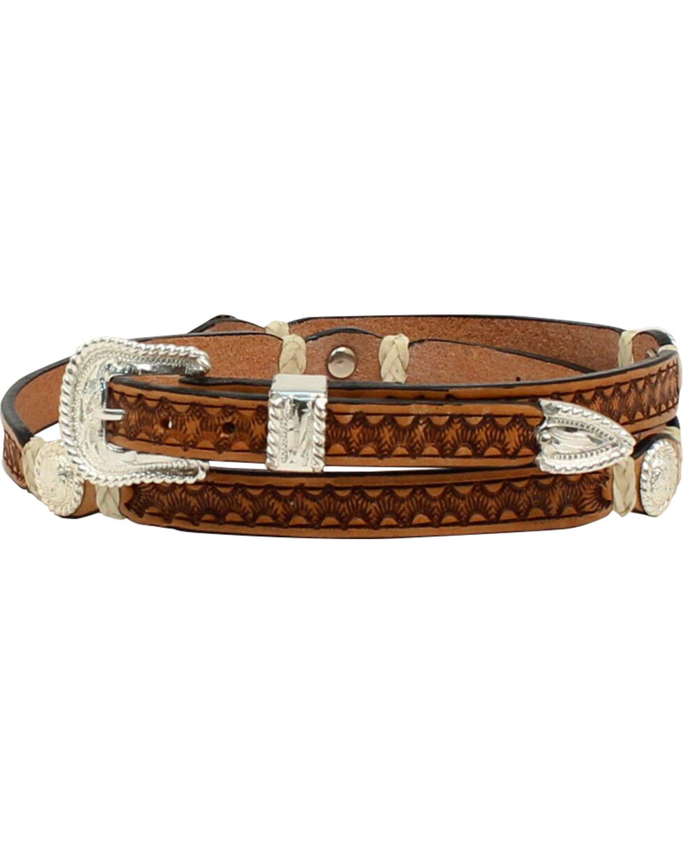 M & F Western Men's Stamp Rawhide Concho Hatband, , hi-res