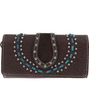 Shyanne® Women's Studded Tri-Fold Wallet , Mauve, hi-res