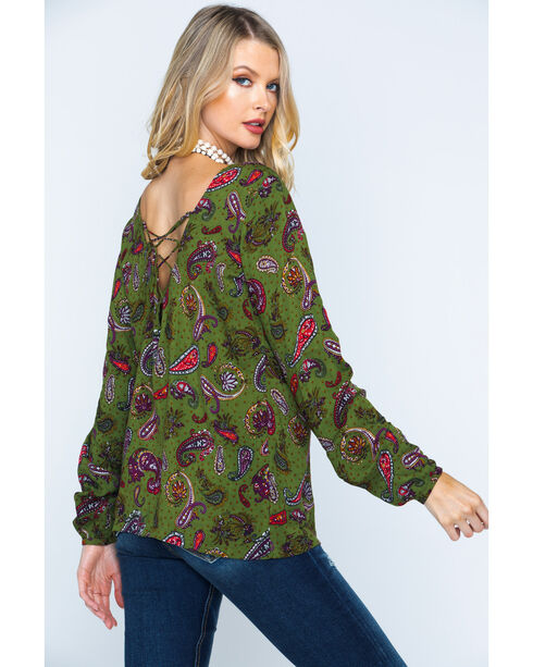 Wrangler Women's Lace-Up Back Paisley Tunic , Green, hi-res