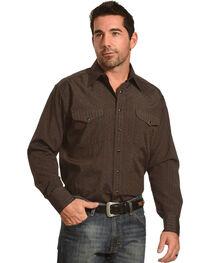 Panhandle Men's Brown Dobby Stripe Long Sleeve Western Shirt, , hi-res