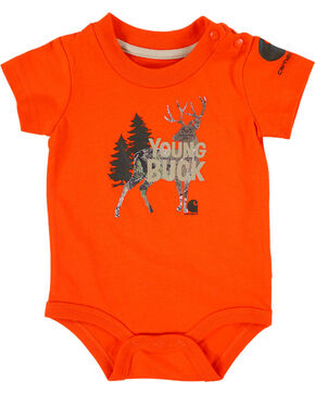 Carhartt Infant Boys' Young Buck Onesie, Orange, hi-res