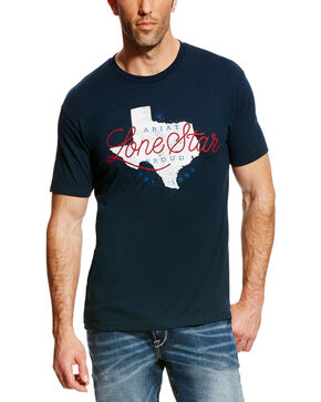 Ariat Men's Navy Lone Star State Short Sleeve T-Shirt , Navy, hi-res