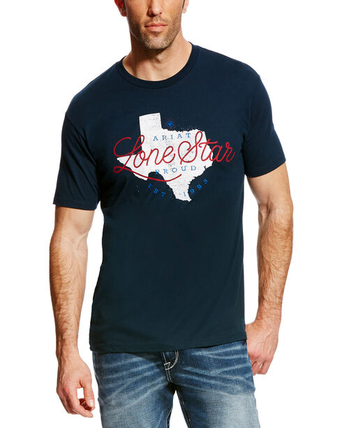Ariat Men's Navy Lone Star State Short Sleeve T-Shirt , , hi-res