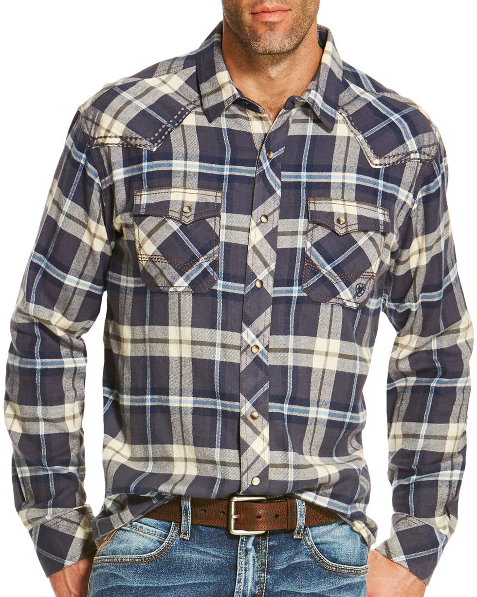 Ariat Men's Navy Tahoma Retro Western Plaid Shirt , , hi-res