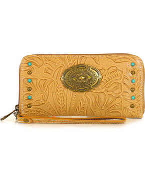 Waywest Women's Floral Tooled Wallet, Tan, hi-res