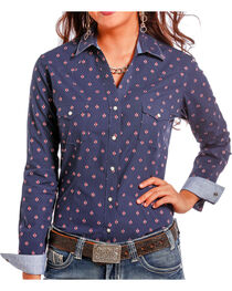Rough Stock by Panhandle Women's Diamond Printed Long Sleeve Shirt, , hi-res