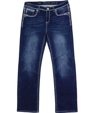 Grace in LA Women's Plus Sequin Soft Denim Straight Leg Jeans, Indigo, hi-res