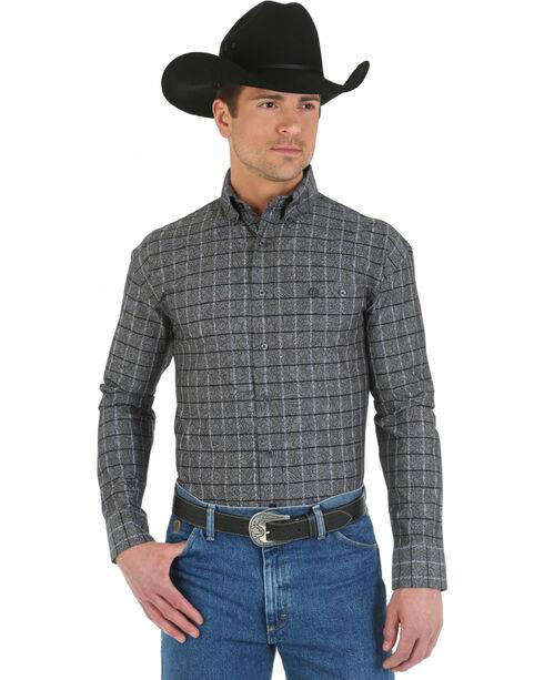 Wrangler George Strait Men's Overprint Long Sleeve Shirt, Burgundy, hi-res