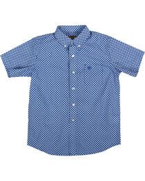 Ariat Boys' Indiana Short Sleeve Shirt, Blue, hi-res