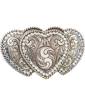 Triple Heart Buckle, Silver, hi-res