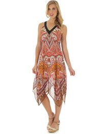 Wrangler Women's Sleeveless Handkerchief Hem Print Dress, , hi-res