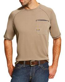 Ariat Men's Khaki Rebar Sunstopper Short Sleeve Pocket Tee, , hi-res
