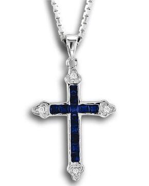 Kelly Herd Women's Blue Cross Pendant Necklace , Blue, hi-res