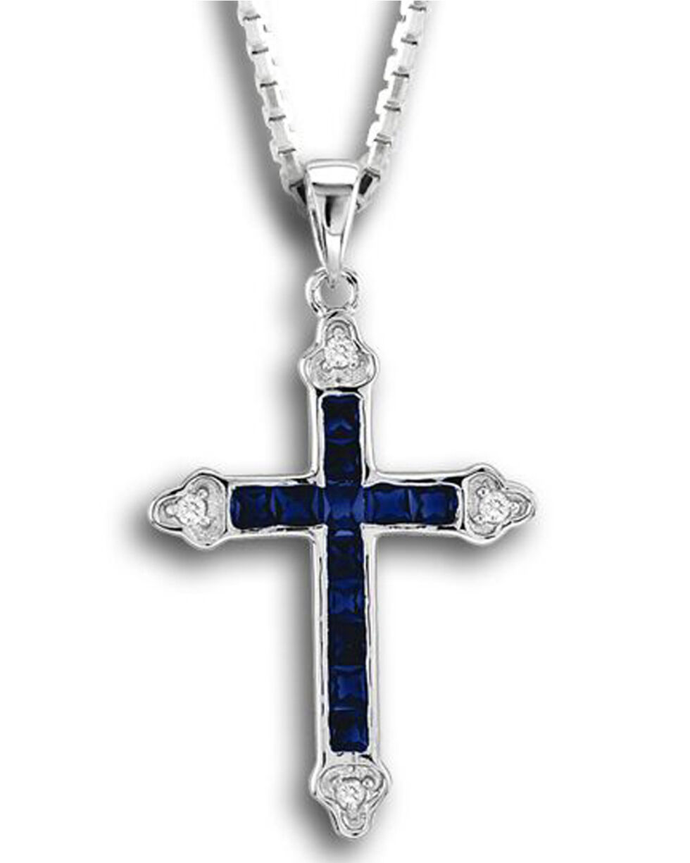 Kelly Herd Women's Blue Cross Pendant Necklace , Blue, hi-res