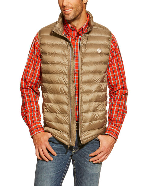 Ariat Men's Ideal Down Quilted Vest, Brown, hi-res