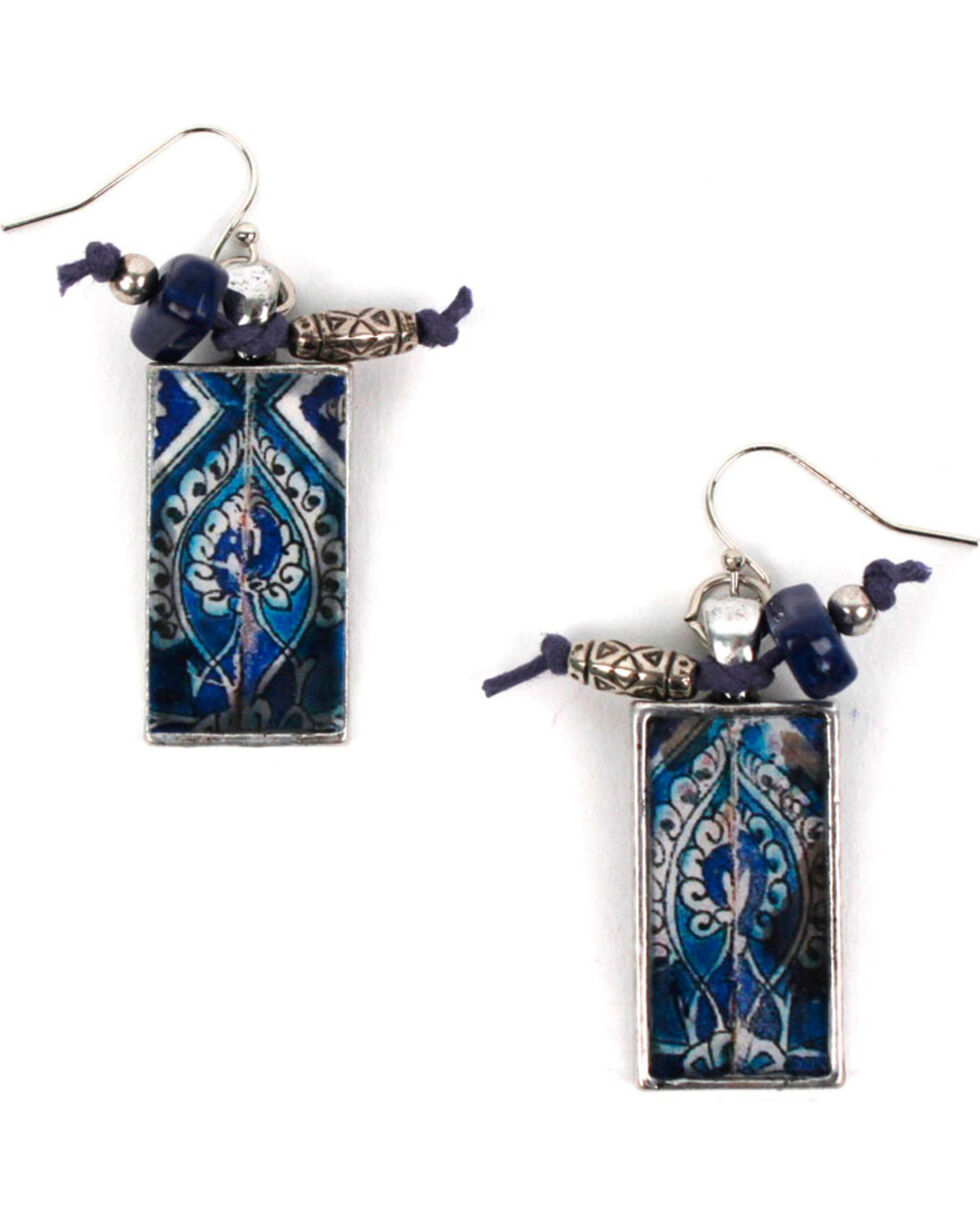 Treska Women's Rectangle Tile Drop Earrings, Blue, hi-res