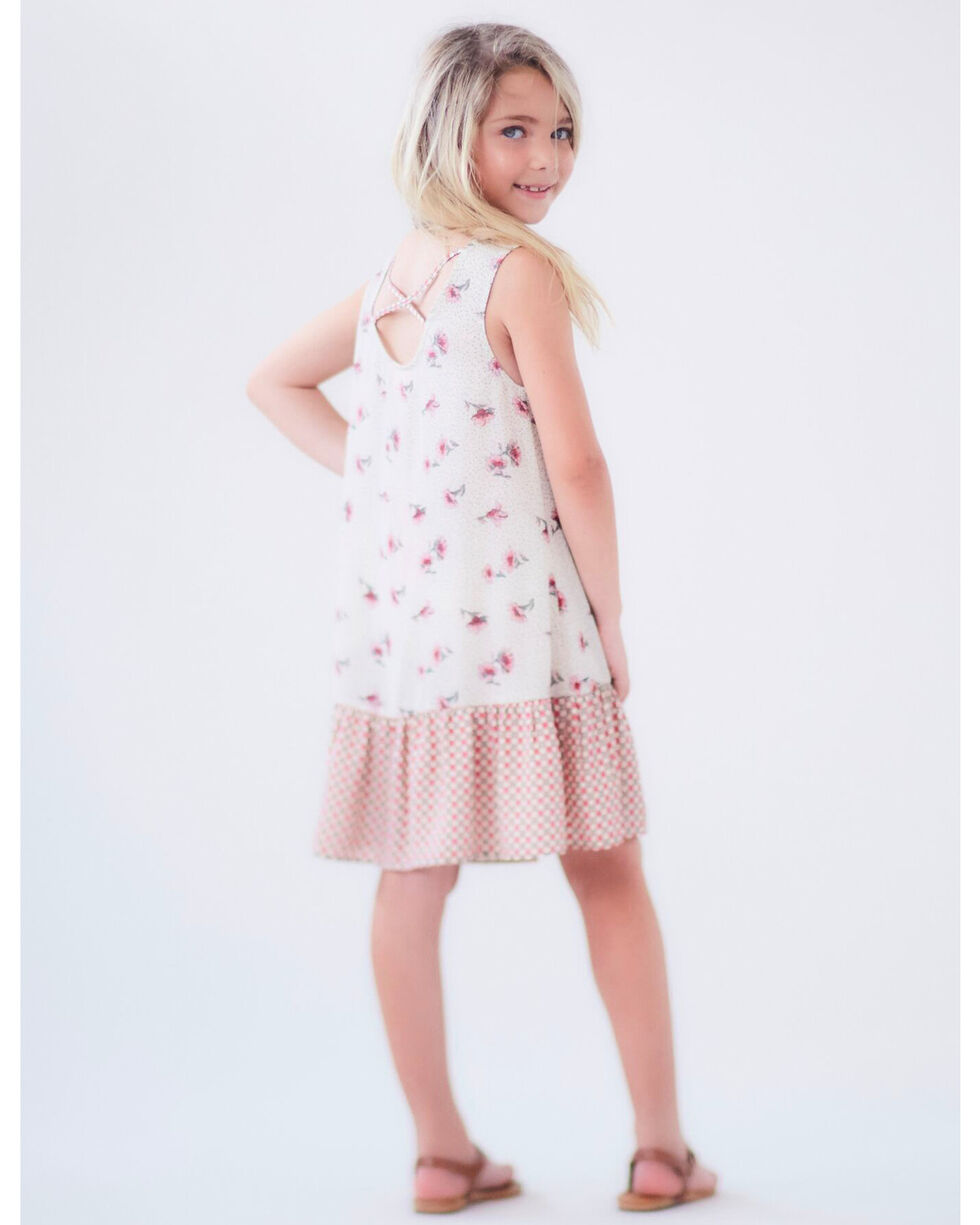 Idol Mind Girls' Mixed Print Cross Back Dress, Ivory, hi-res