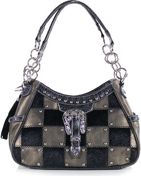 Savana Women's Checkered Hair-on Purse, Grey, hi-res