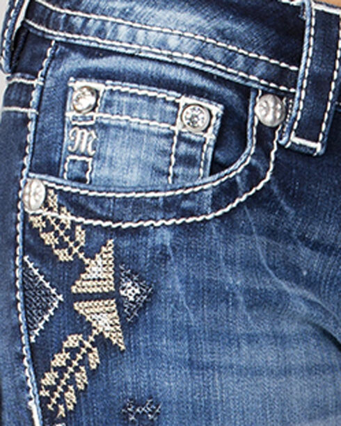 Miss Me Women's Side Embroidery Cuff Ankle Jeans, Indigo, hi-res