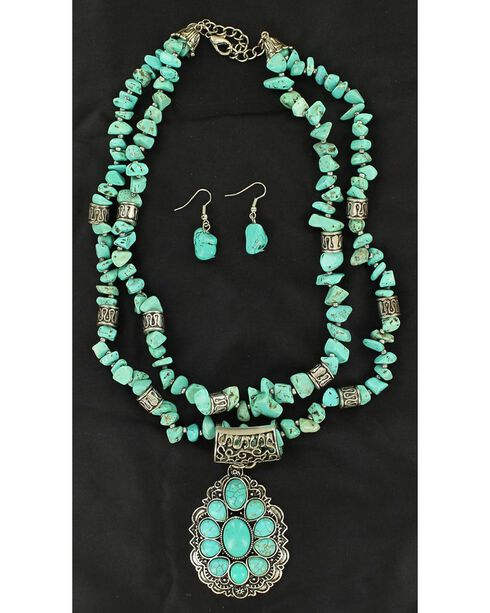 Blazin Roxx Faux Turquoise Embellished Teardrop Pendant Necklace & Earrings Set, Turquoise, hi-res