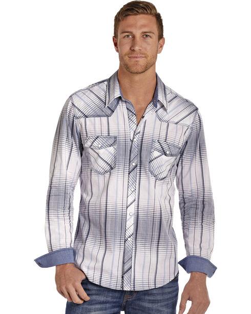 Rock & Roll Cowboy Men's White Crinkle Washed Plaid Long Sleeve Shirt, White, hi-res