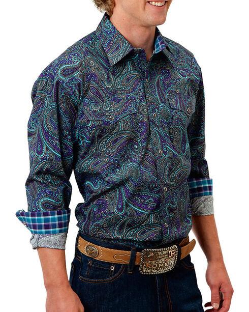 Roper Men's Paisley Printed Long Sleeve Shirt, Purple, hi-res