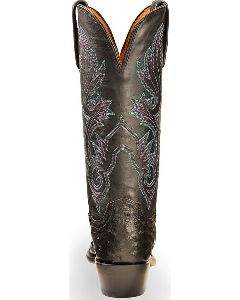 Lucchese Women's Black Dolly Full Quill Ostrich Western Boots - Square Toe, Black, hi-res
